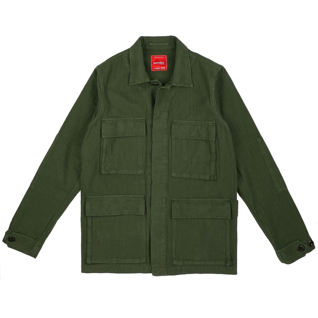 main Paynter Jacket Co's Batch No.3 - The Field Jacket. Limited Edition. Label designed by Ilya Milstein. Military Olive Green. Portuguese Herringbone.