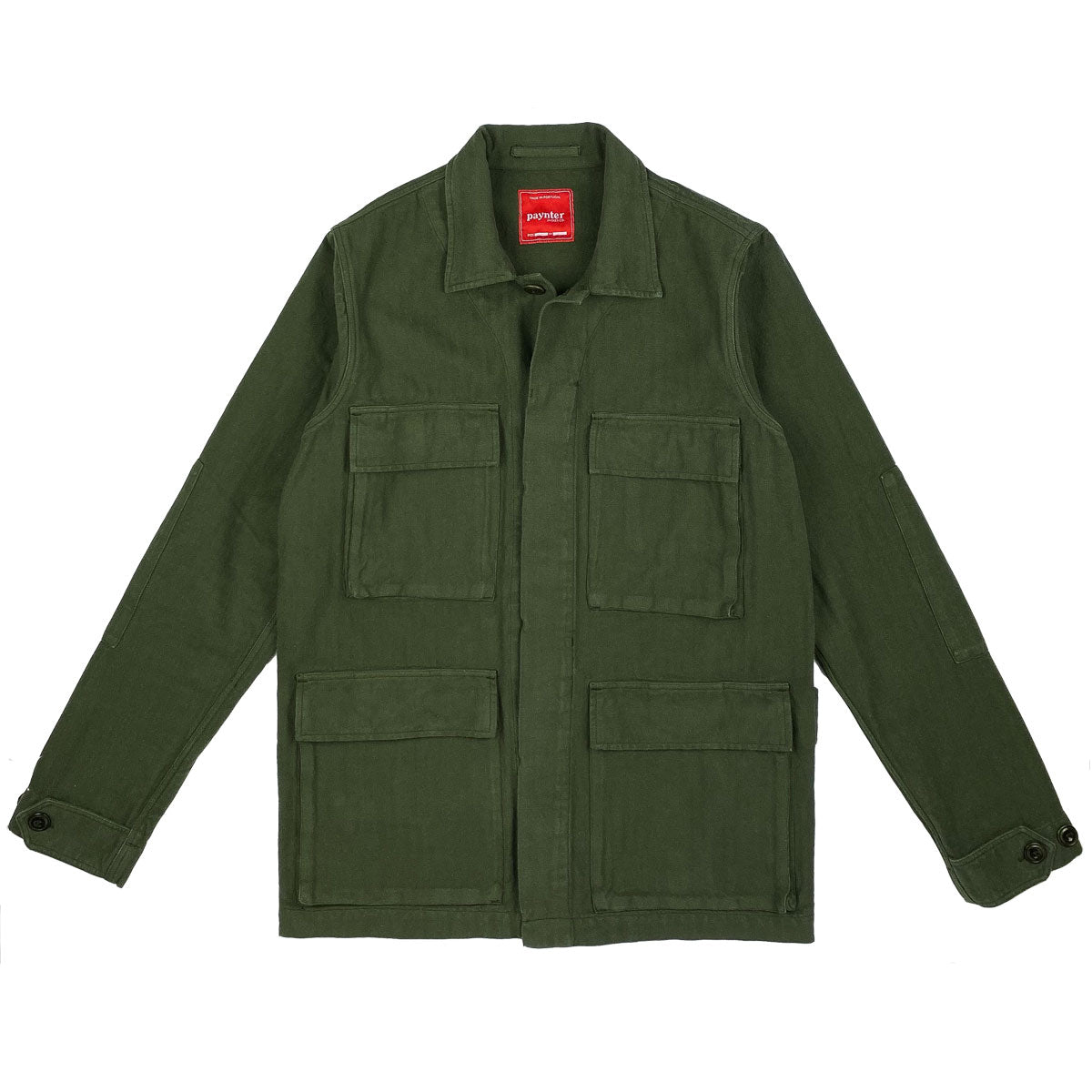 Paynter Jacket Co's Batch No.3 - The Field Jacket. Limited Edition. Label designed by Ilya Milstein. Military Olive Green. Portuguese Herringbone.