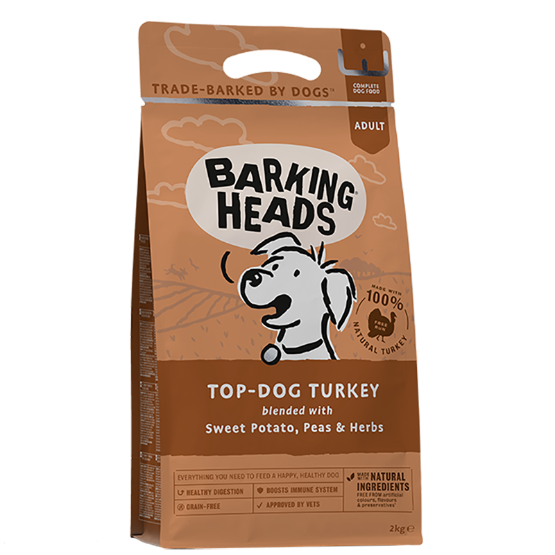 barking heads top dog turkey front of pack