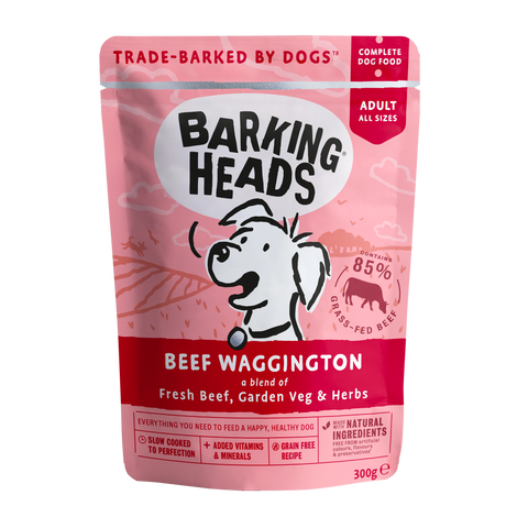 barking heads beef waggington pouch front of pack