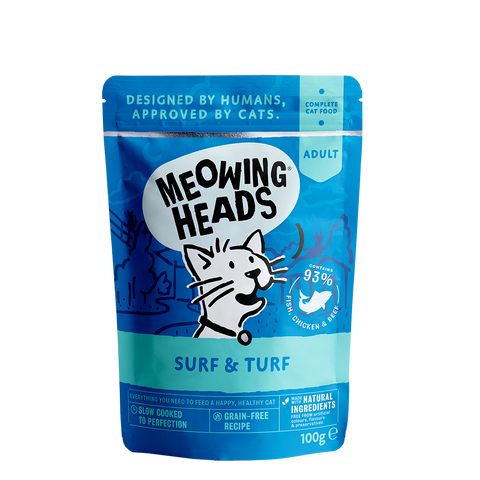 meowing heads surf and turf pouch front of pack