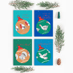 Pack Of Eight Festive Bird Christmas Cards