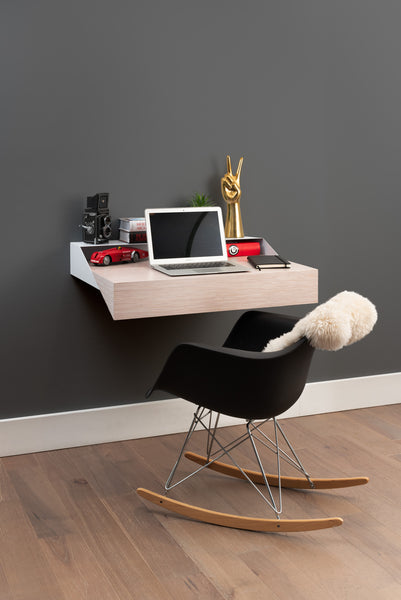 Hideaway Wall Shelf and Desk |White Ash | Expandable | Ideal for Small Spaces - ITEM OUT OF STOCK -
