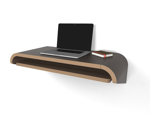 Minimal Wall Desk | Walnut | Small | Pull-out Shelf | Ideal for Home-Office - OUT OF STOCKUse Discount code