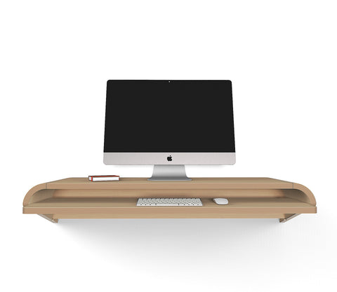 Minimal Wall Desk | Rift Oak | Small | Pull-out Shelf | Ideal for Home-Office-OUT OF STOCK - PREORDER DISCOUNT CODE SAVE15NOW