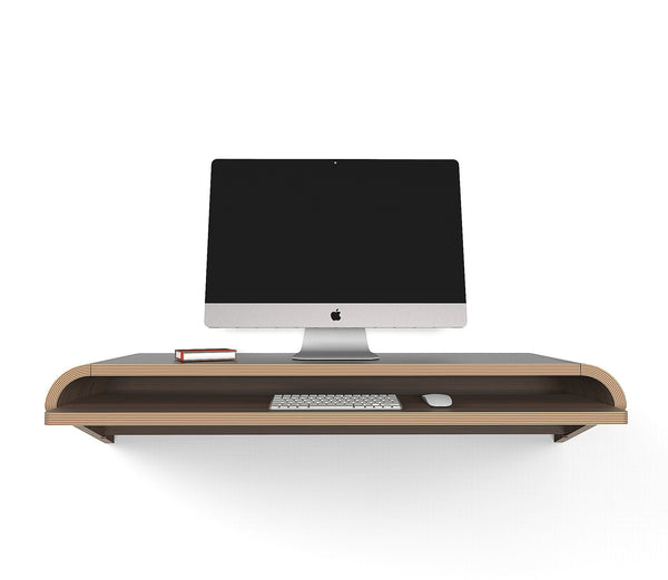 Minimal Wall Desk | Walnut | Large | Pull-out Shelf | Ideal for Home-Office