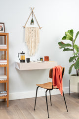 Hideaway Wall Shelf and Desk |White Ash | Expandable | Ideal for Small Spaces