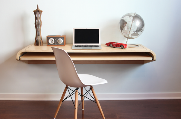 "Minimal Wall Desk | Rift Oak | Large | Ideal for Home Office - In Stock Ships Free - 15% Discount available - Use code ""SAVE15NOW"