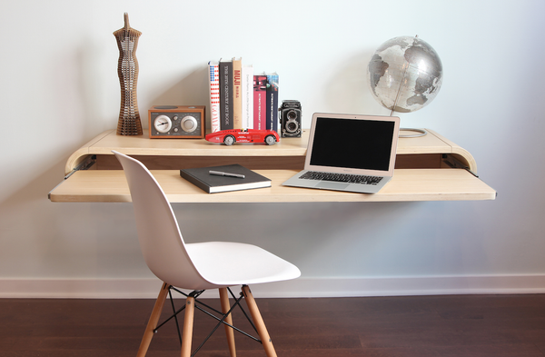 Minimal Wall Desk | Rift Oak | Large | Pull-out Shelf | Ideal for Home-Office