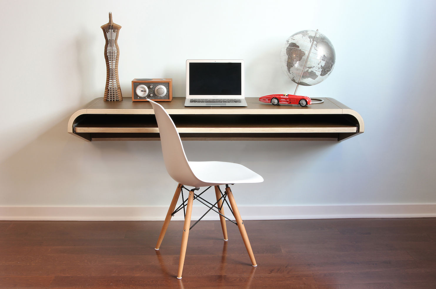 Minimal Wall Desk Walnut Large Pull Out Shelf