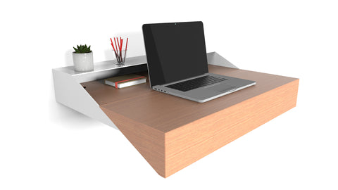 Minimal Wall Desk | Walnut | Small | Pull-out Shelf | Ideal for Home-Office