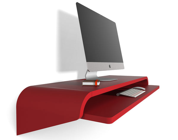 Minimal Wall Desk | Orange Red | Large | Pull-out Shelf | Ideal for Home-Office
