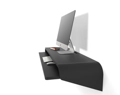Minimal Wall Desk | Black | Large | Pull-out Shelf | Ideal for Home-Office