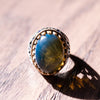 Blue Amber Men's Ring