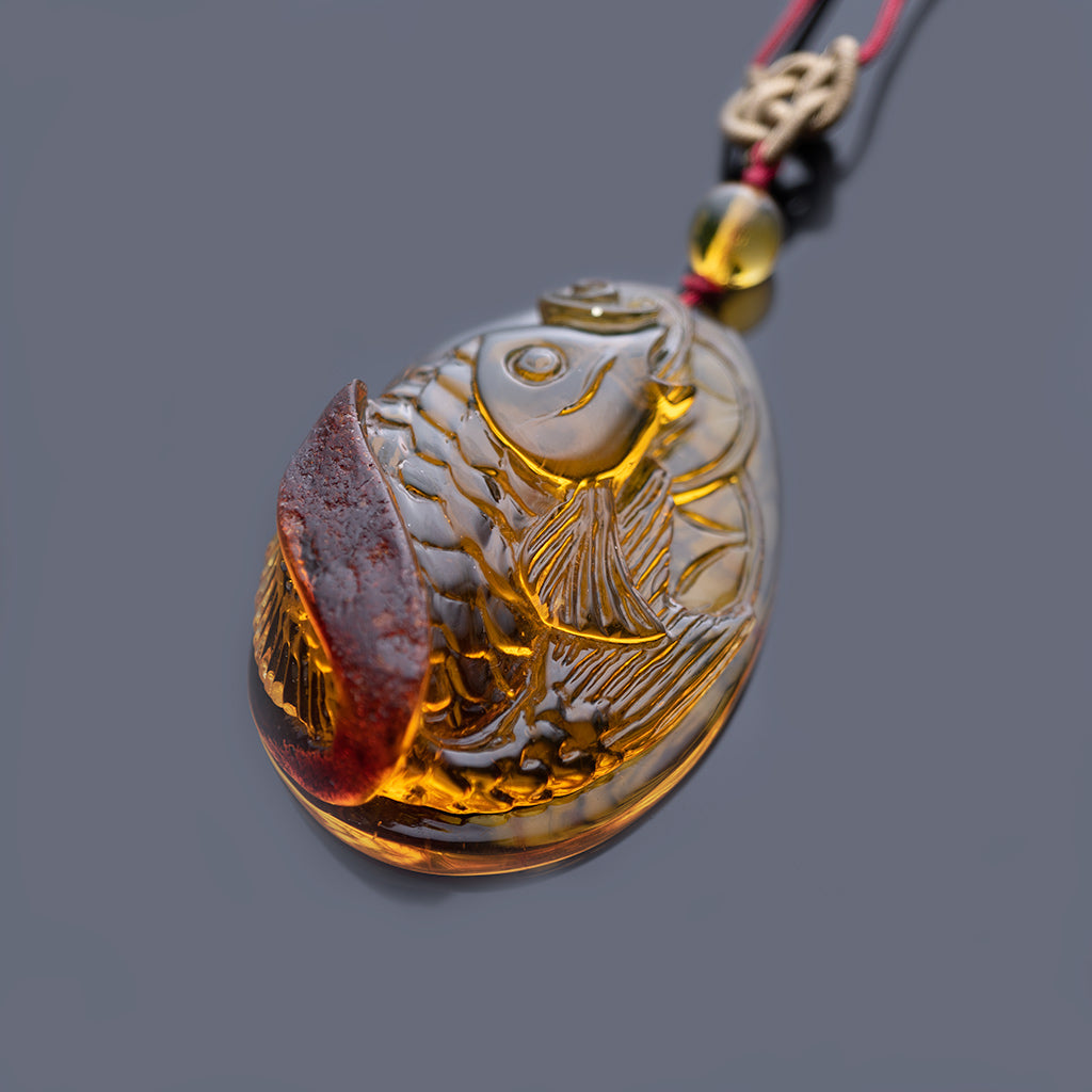 Dominican Green Amber Koi Fish Red Nugget Skin