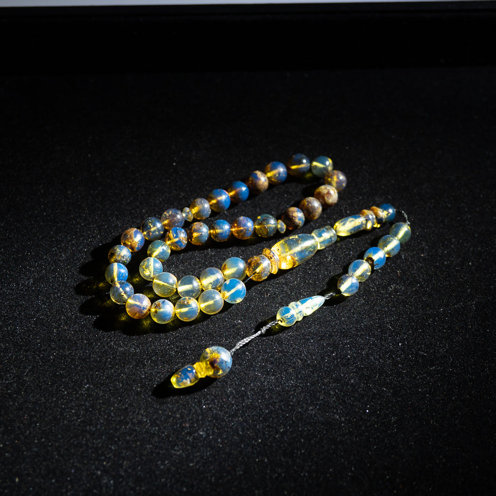 Blue Amber Tasbih, 33 Beads, 7mm Beads, 13gr