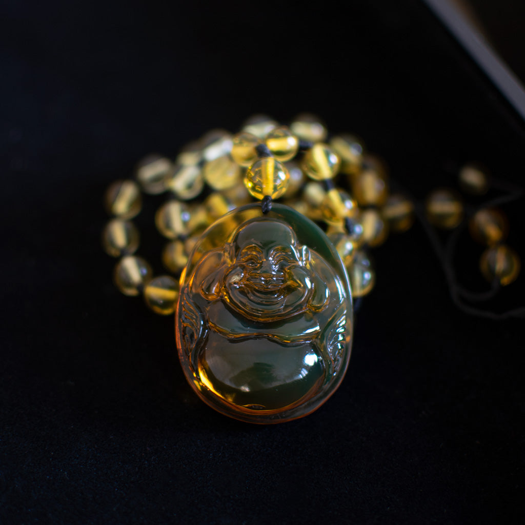 Dominican Green Amber Buddha Necklace