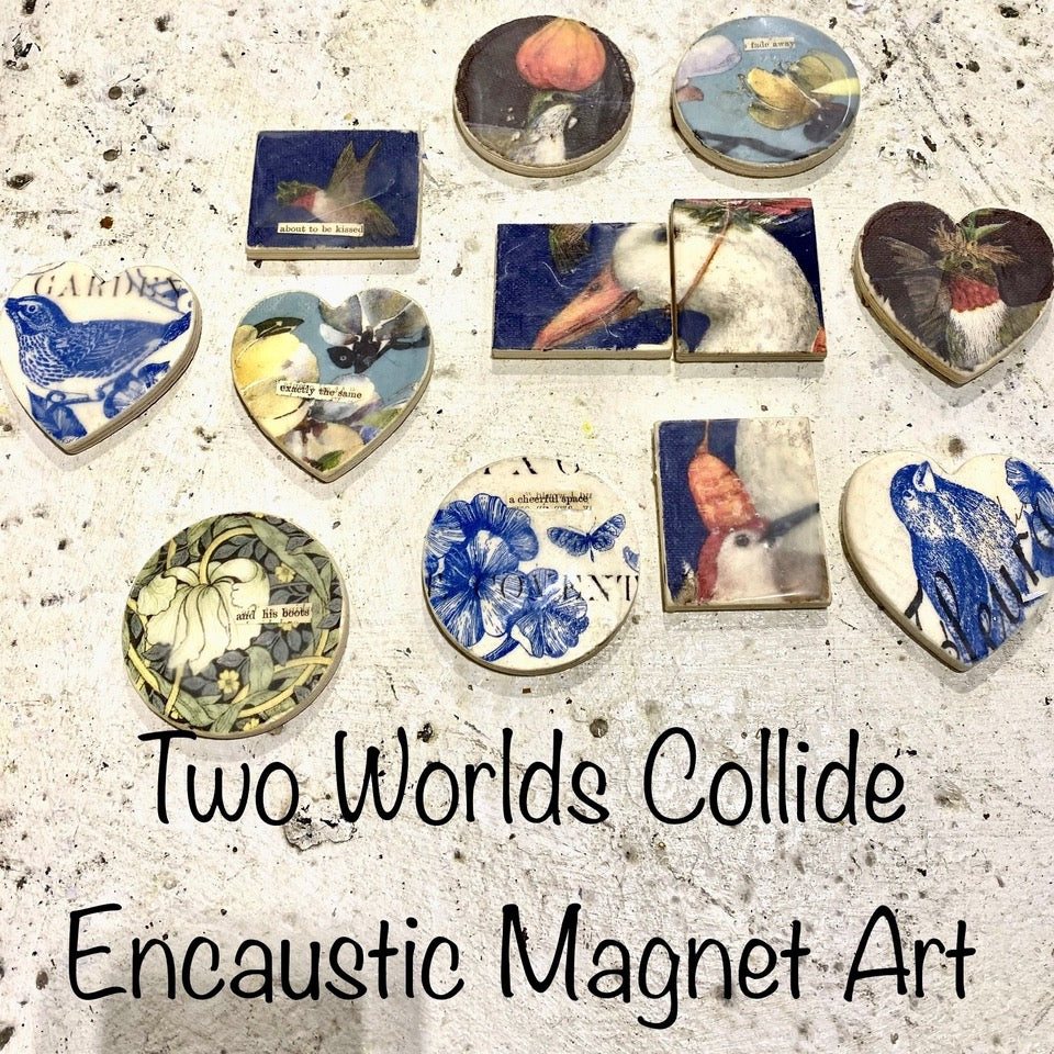 TWO Worlds Collide - Encaustic Tiles/Magnet Art