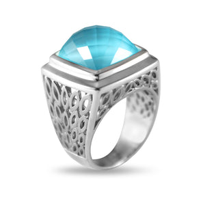 Lido Cushion Aqua Mist Ring