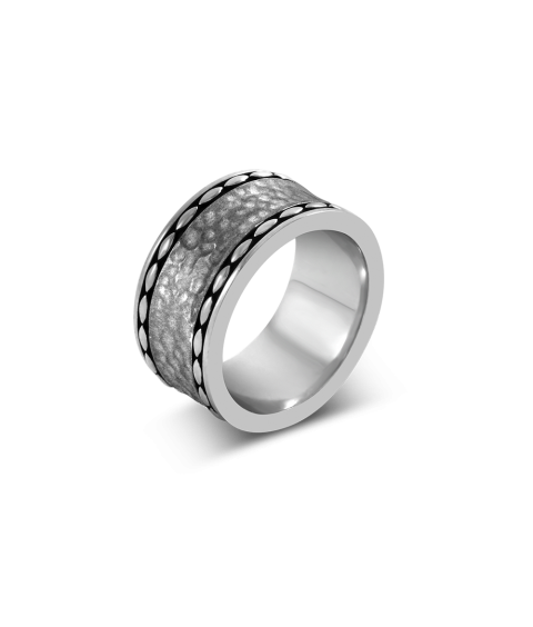 Men's Hammered Wide Band