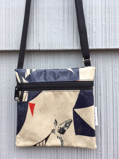 Travel Purse in Bird on Cream