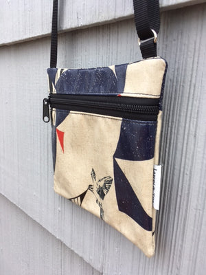 Small Travel Purse in Bird on Cream