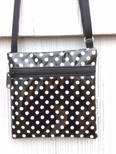 Travel Purse in Black and White Polka Dots