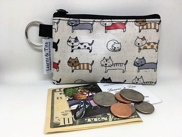 Coin Purse in Cream Cats