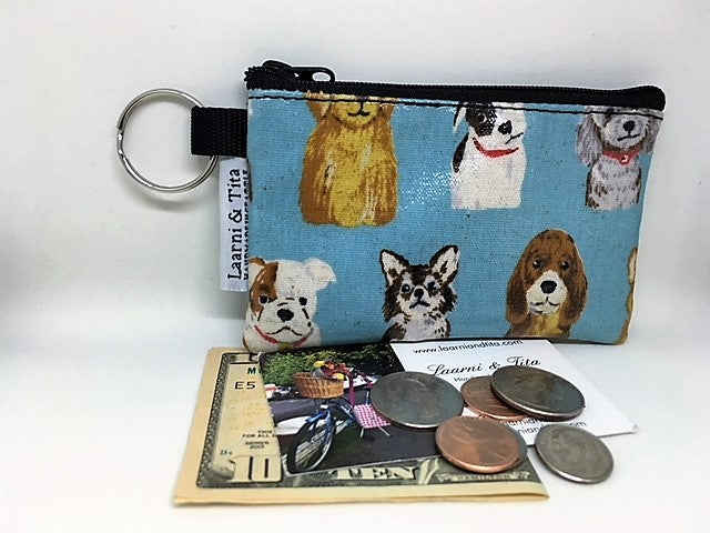 Coin Purse in Doggies in Blue