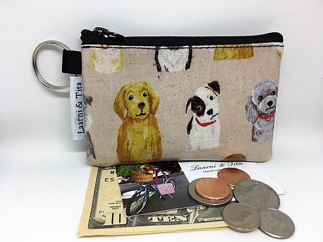 Coin Purse in Doggies in Cream