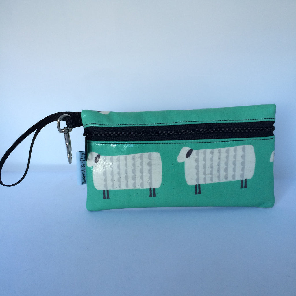 Large Wristlet in Green Sheep