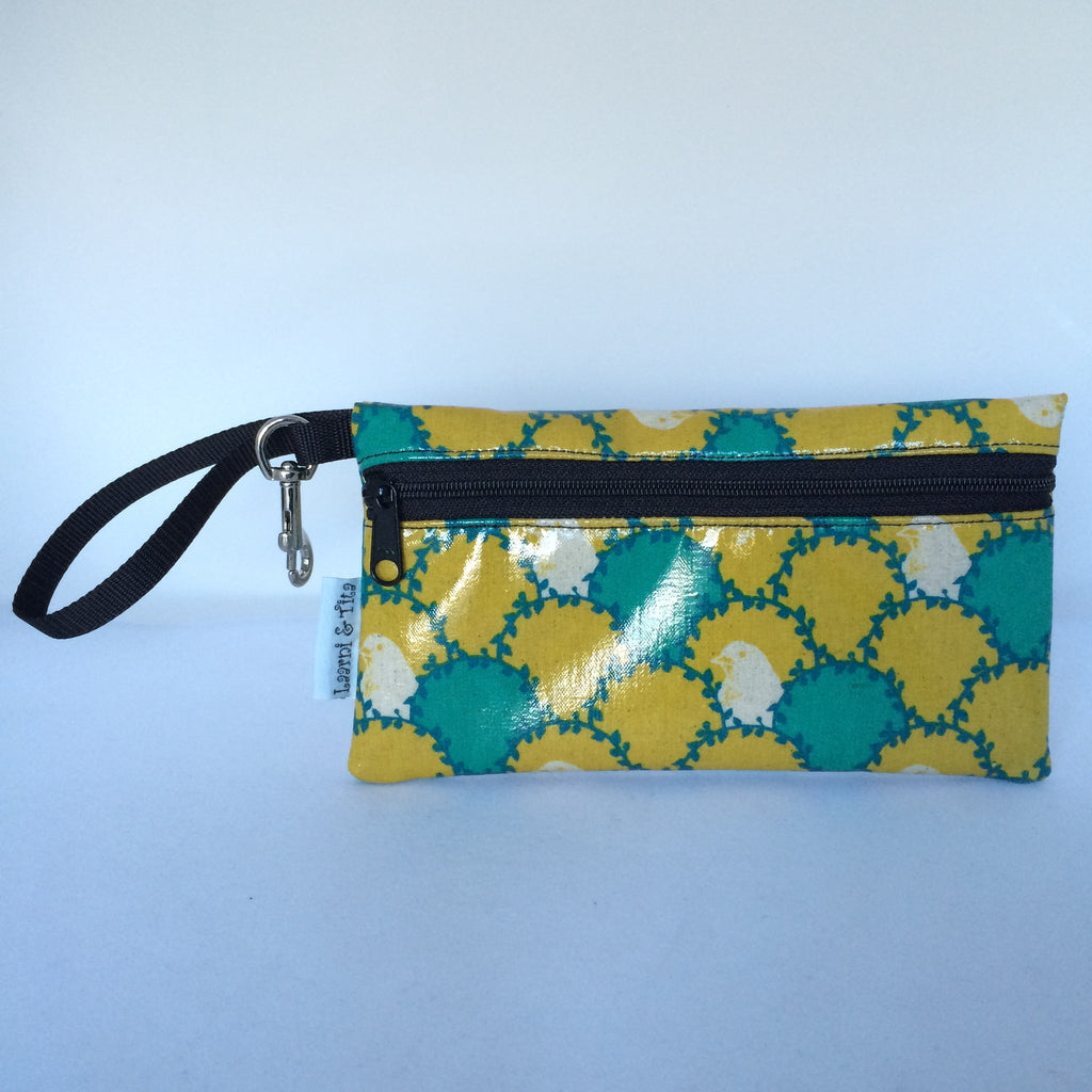 Large Wristlet in Green and Yellow White Bird