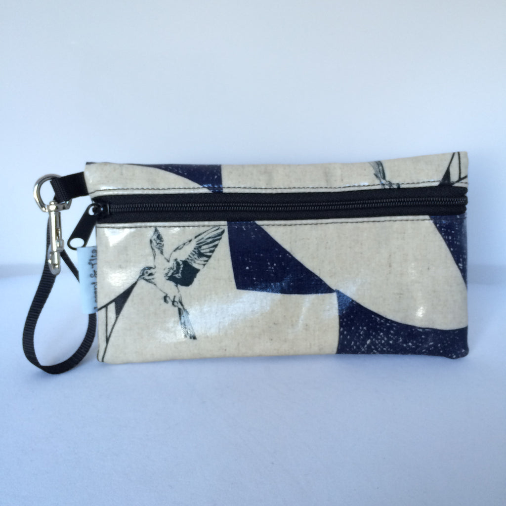Large Wristlet in Bird on Cream