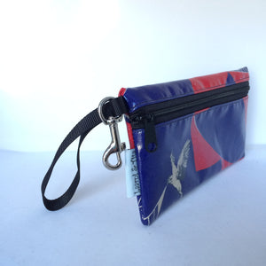 Large Wristlet in Bird on Red and Blue