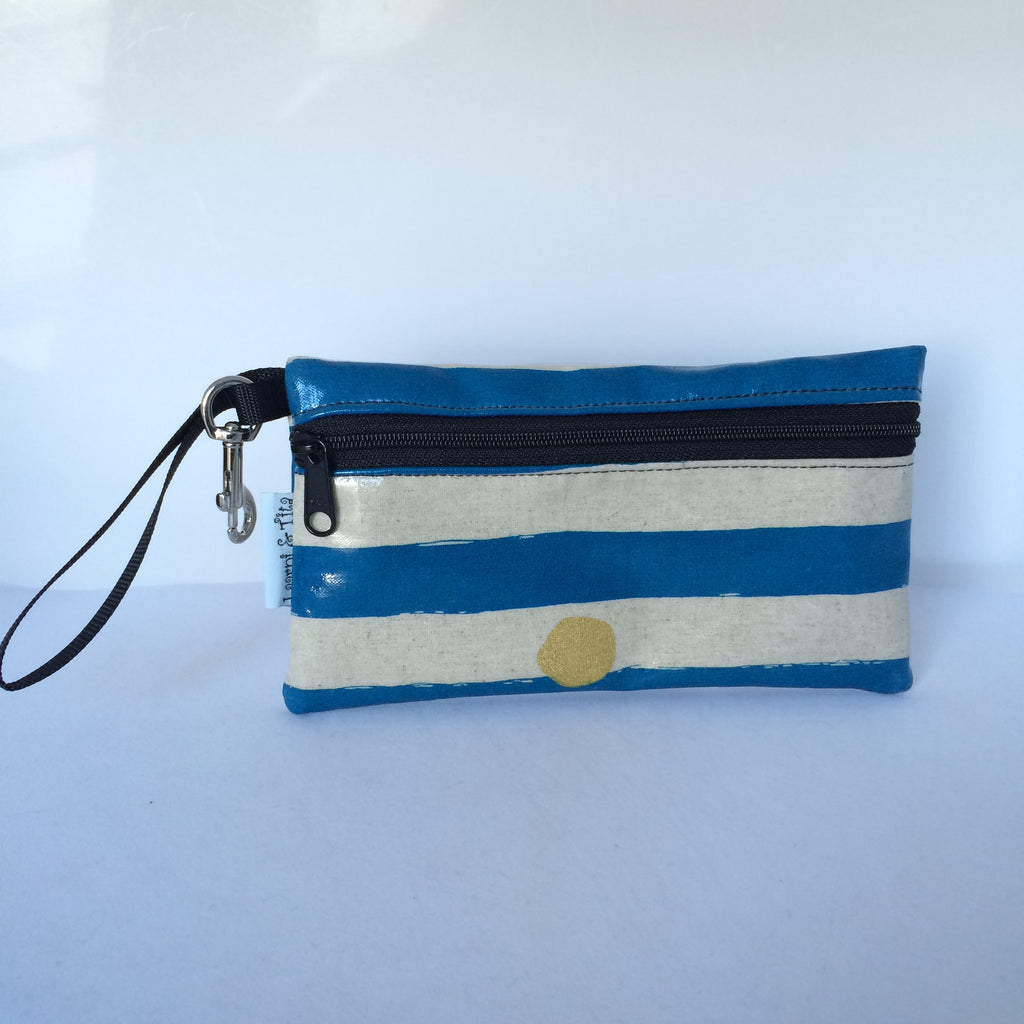 Large Wristlet in Blue with Gold Spots
