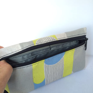 Large Wristlet in Gray Blue and Yellow