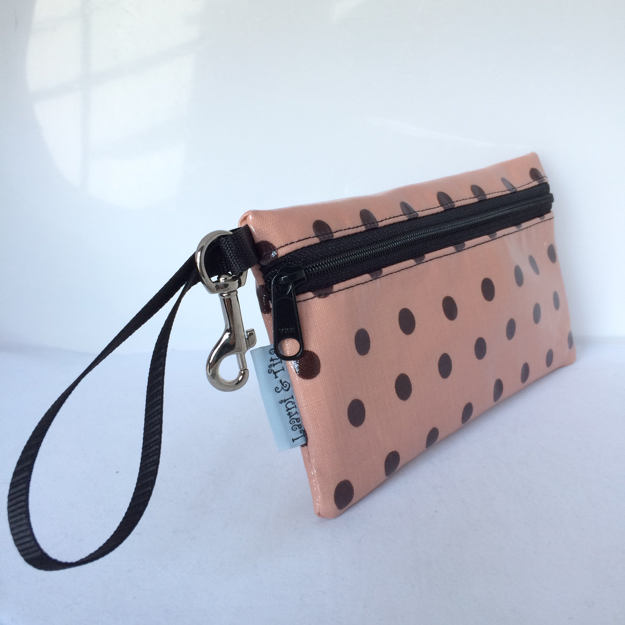 Large Wristlet in Peach Polka Dots