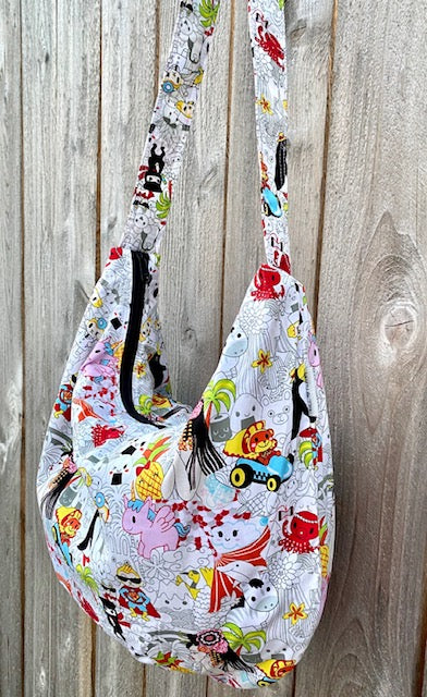 Hobo Bag in Cartoon Print#1