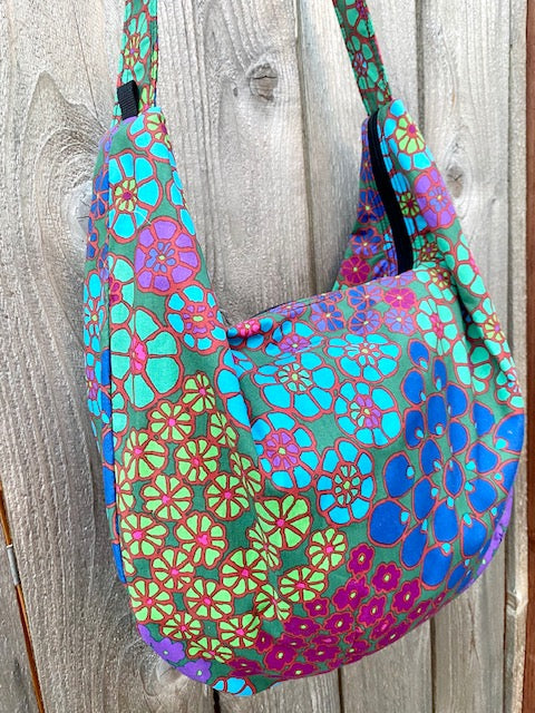 Hobo Bag in Purple Floral Print