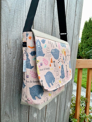 Tall Messenger Bag in Leafy Forest