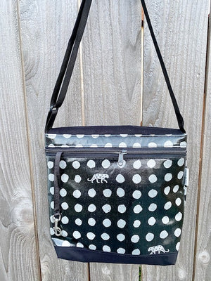 Tall Messenger Bag in Silver Spots Leopard