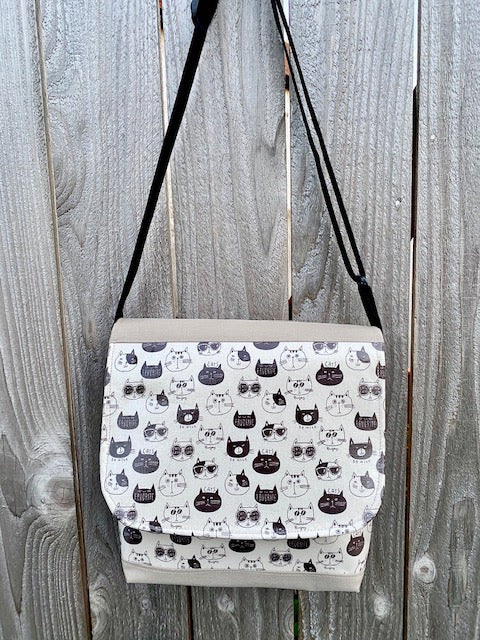 Tall Messenger Bag in Cream So Nice Cats