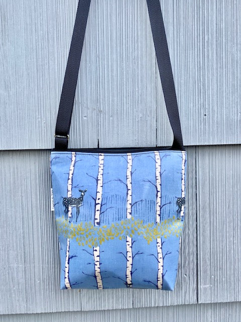 Medium Travel Purse in Blue Deer