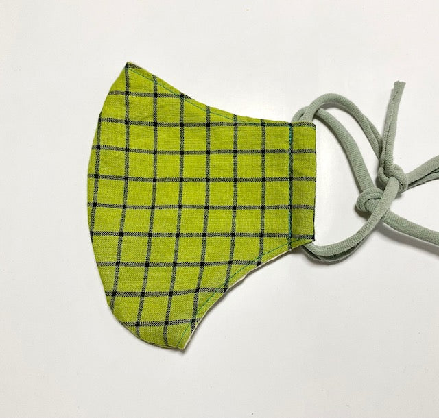Face Mask in Green Square pattern
