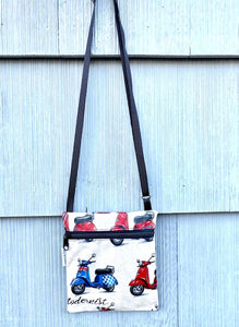 NEW SIZE Small Travel Purse in Red and Blue Scooter print