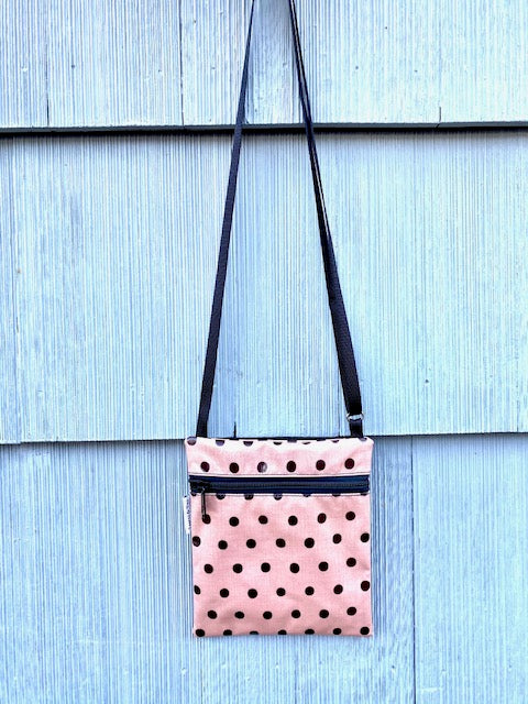 NEW SIZE Small Travel Purse in Peach Polka Dots