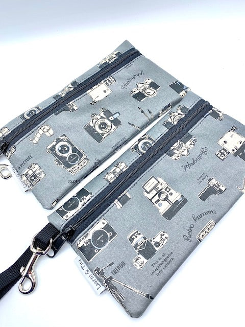 Large Wristlet in Vintage Cameras gray