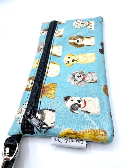 Large Wristlet in Doggies in Blue