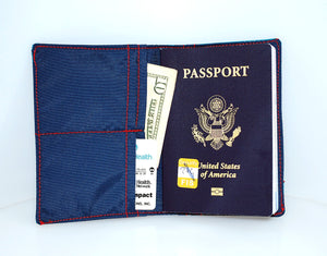 Passport Cover in black w/grey polka dots