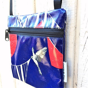 Small Travel Purse in bird in red & blue